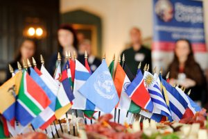 Flags from around the world on a table
